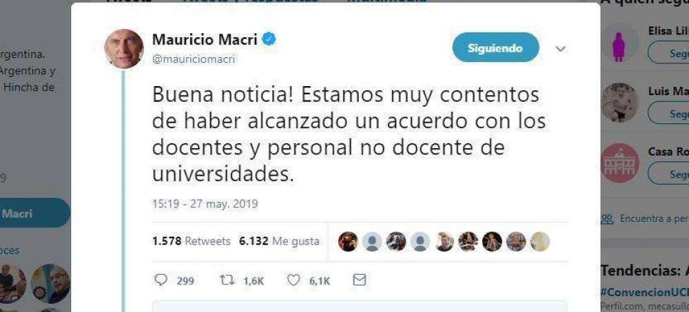 Los docentes universitarios acordaron 16% en 3 cuotas y Macri lo festejó por Twitter