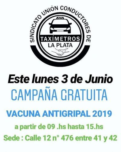 Ofrecerán gratis la vacuna antigripal en el Sindicato Unión Conductores de Taxímetros