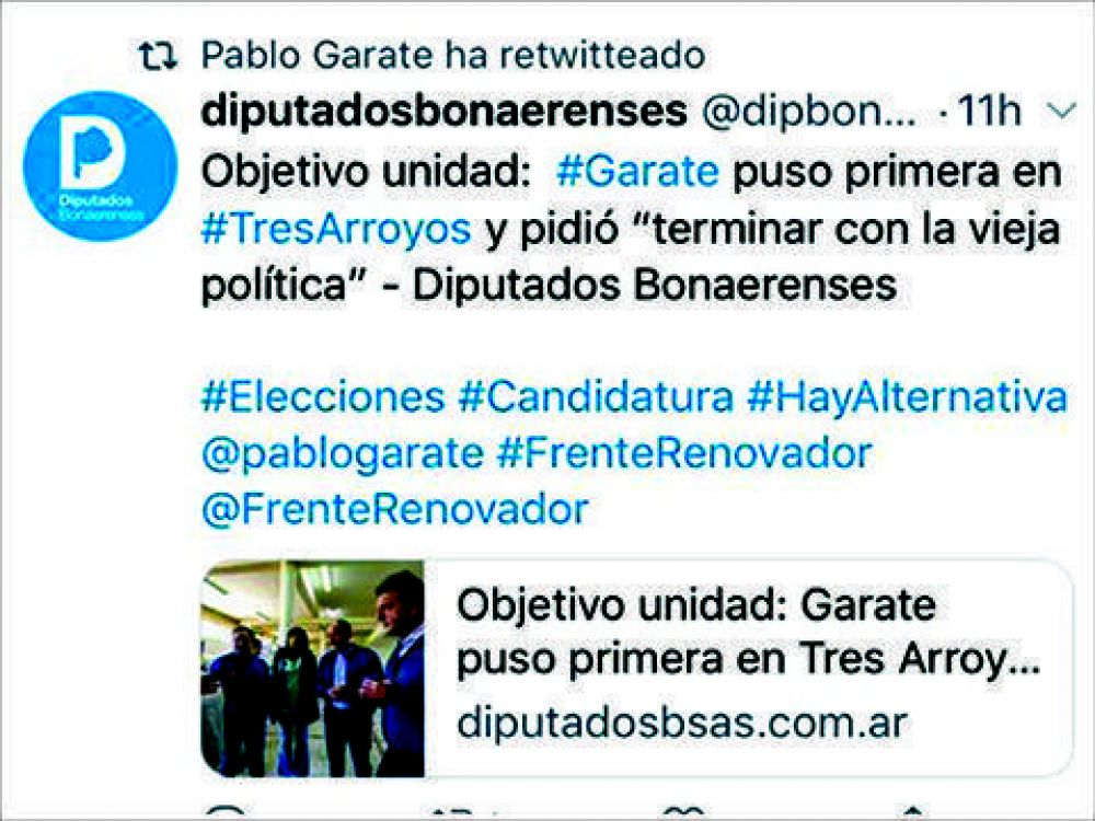 Todo dicho: Garate retwitteó noticia que lo define como candidato a intendente
