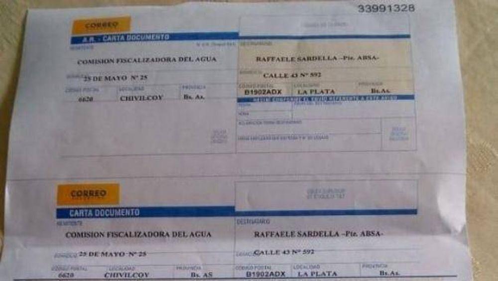 La Comisión Fiscalizadora del Agua envió una carta documento al presidente de ABSA