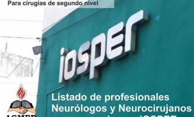 Convenio IOSPER / AENN: listado de profesionales