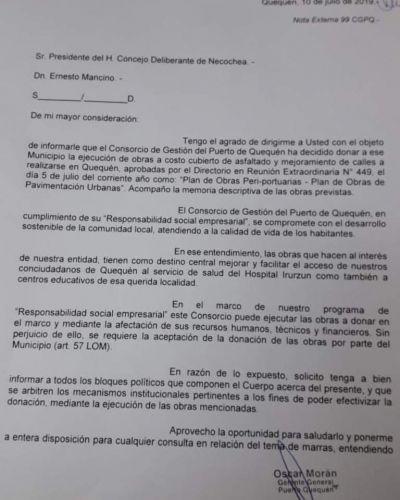 El Puerto comunicó oficialmente la donación de cuadras de asfalto a la Comuna