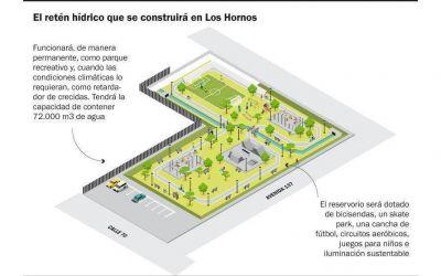 Construirán en Los Hornos un reservorio para mitigar el impacto de las lluvias extremas
