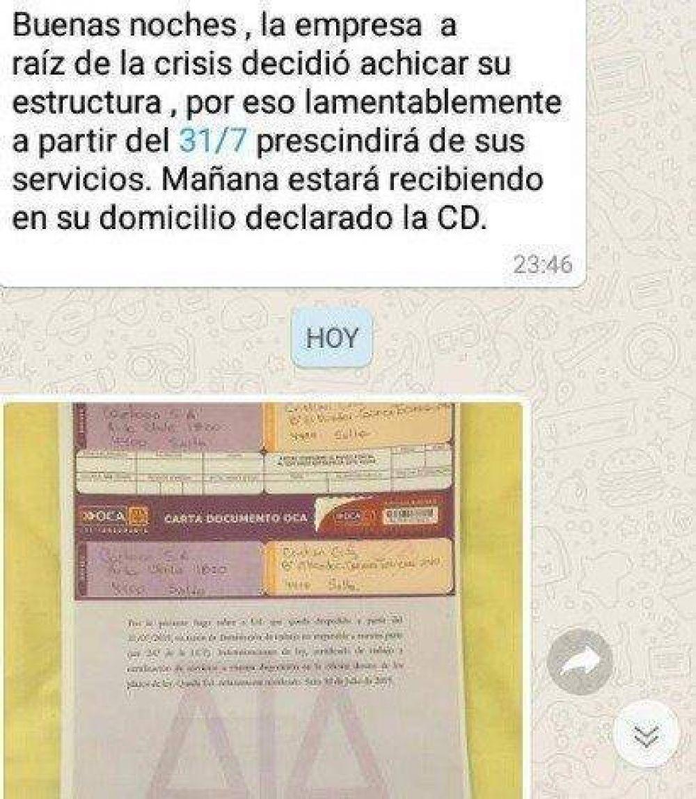 Resultado de imagen para empresa gráfica despidió a 10 trabajadores por WhatsApp