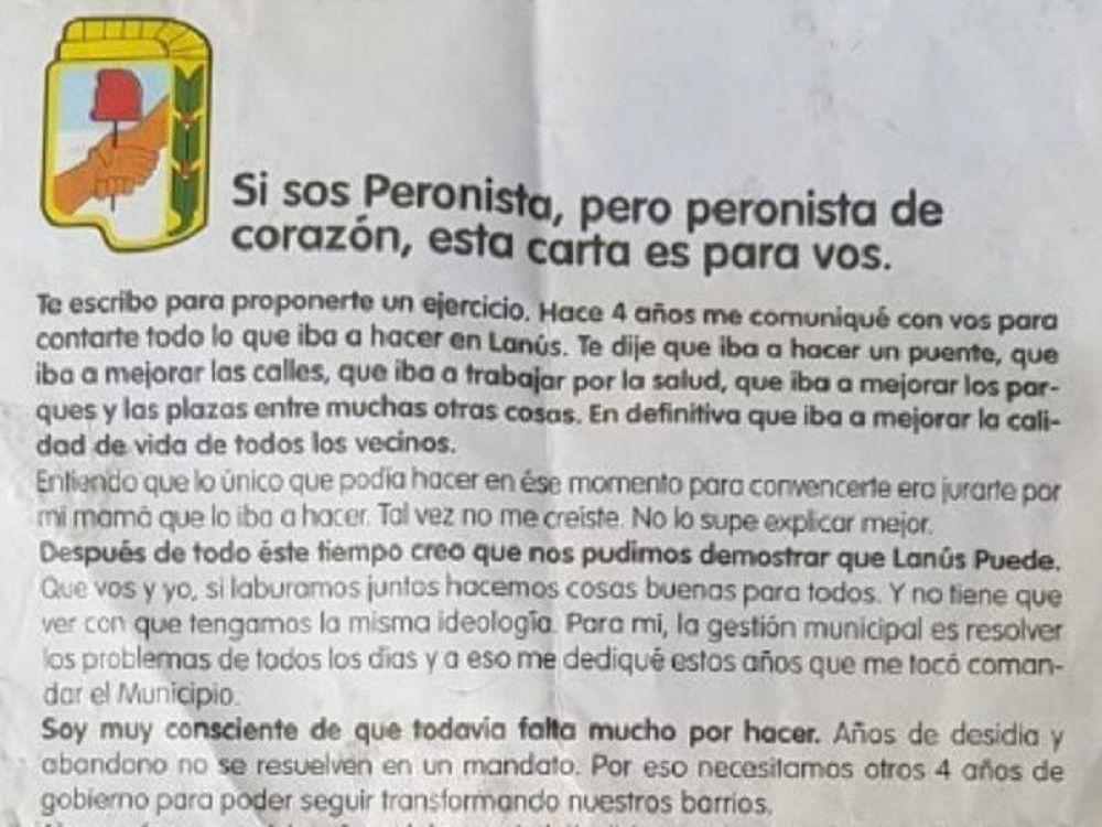 El PJ de Lanús repudió a Grindetti por usar símbolos peronistas en su campaña