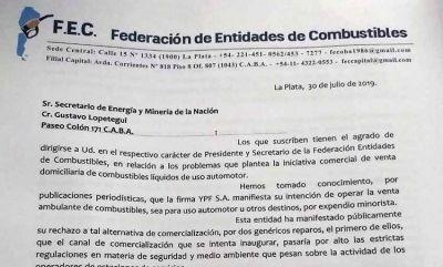 Expendedores advierten a Lopetegui que el despacho de nafta a domicilio atenta contra la seguridad y la sana competencia
