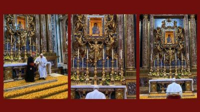El Papa ora en Santa María La Mayor por su inminente Viaje Apostólico
