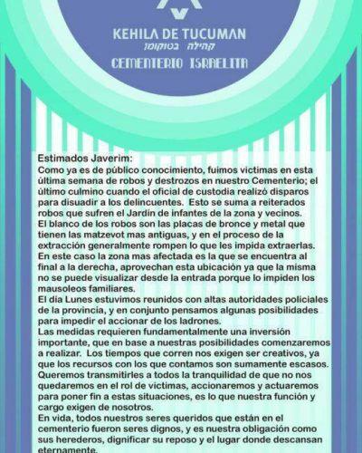 Comunicado de la Kehilá de Tucumán por el ataque al cementerio