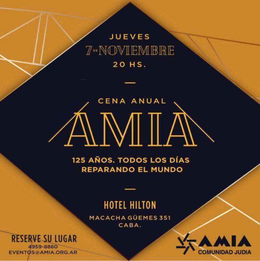 El 7 de noviembre AMIA realizará su tradicional Cena Anual