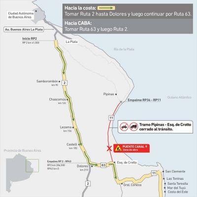 Por obras, desde este lunes permanecerá cerrado un tramo de la ruta 11