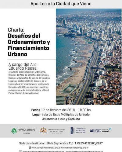 """Se realizará la Charla """"Desafíos del Ordenamiento y del Financiamiento Urbano"""