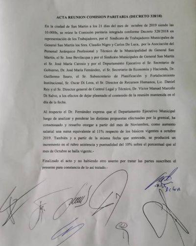 Municipales de San Martín acordaron un aumento del 11% a partir de noviembre