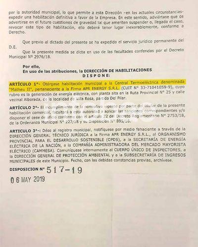 A pesar del reclamo de los vecinos, el municipio de Pilar habilitó definitivamente la instalación de una termoeléctrica