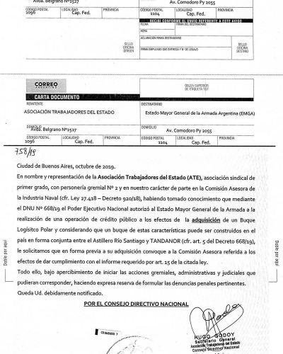 ATE intimó a la Armada Argentina a frenar la compra de un buque en el exterior