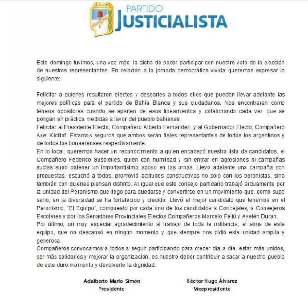Comunicado del PJ Bahía Blanca sobre las Elecciones 2019