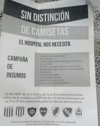Sin distinción de camisetas: Peñas futboleras organizan colecta por el hospital