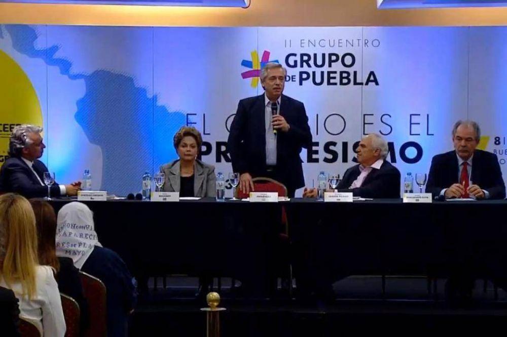 Alberto Fernández en el encuentro del Grupo de Puebla
