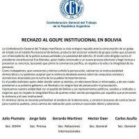 La CGT habló de golpe institucional y se solidarizó con el pueblo boliviano