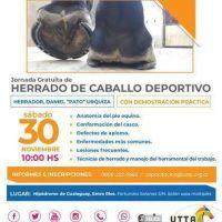 La UTTA organiza una Clínica de Herrado de Caballo Deportivo en Gualeguay, Entre Ríos