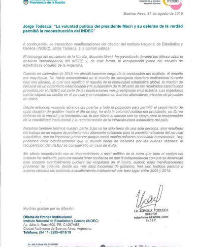 Autonomía del Indec (al Congreso): el proyecto de Lacunza antes de dejar el Gobierno