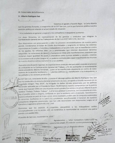 Pronunciamiento de apoyo de la CGT San Luis al gobierno de Alberto Rodríguez Saá