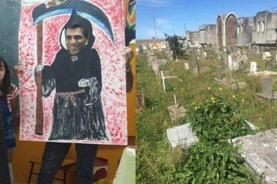 El cementerio abandonado y Lopez disfrazado de Muerte