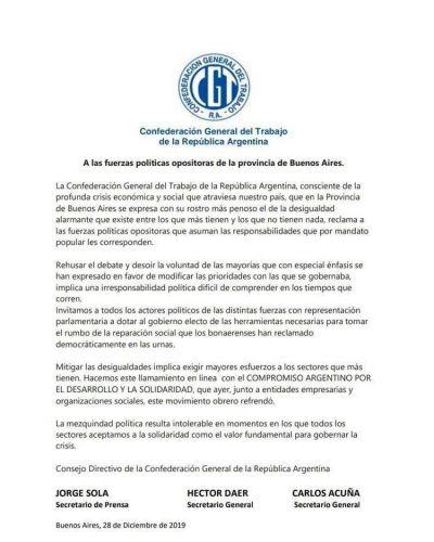 La CGT respaldó a Axel Kicillof y le pidió a la oposición bonaerense que apruebe la Ley Impositiva 2020
