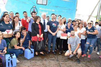 Los ministros de salud en Merlo junto a Menéndez