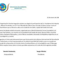 La OSA saluda la participación del presidente Fernández en el Foro del Holocausto en Jerusalén