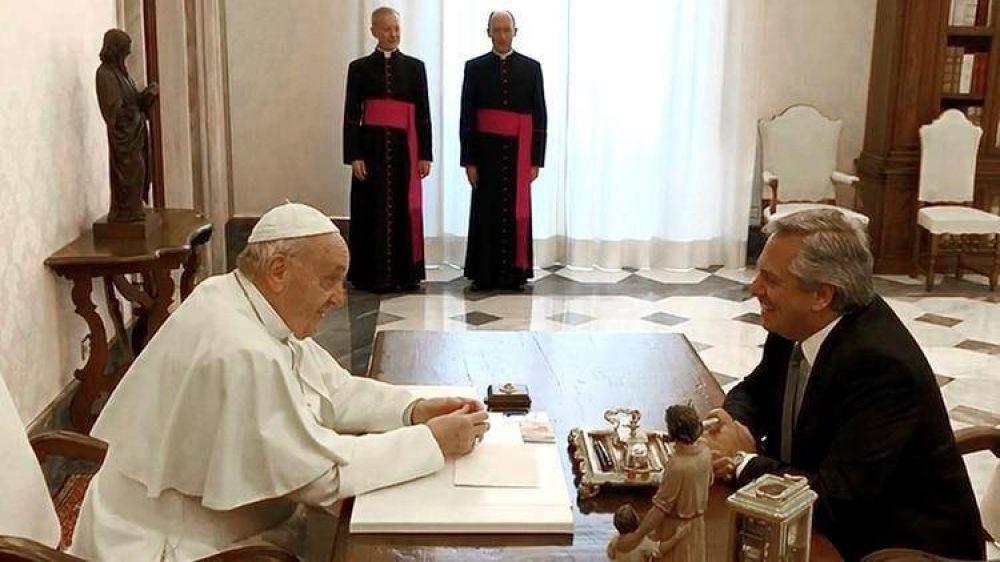 Alberto Fernández y el papa Francisco mantuvieron un diálogo profundo y distendido sobre la Argentina y el mundo en el Vaticano