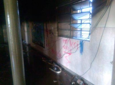Incendio intencional y destrozos en una escuela