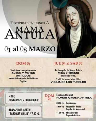 Santiago del Estero prepara la fiesta de la beata Mama Antula