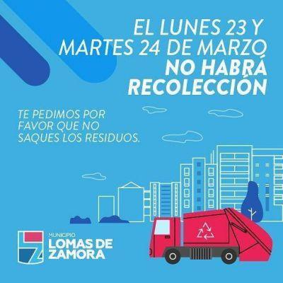 Este lunes y martes no habrá recolección de residuos en Lomas