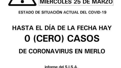 COVID-19: no se registran casos en Merlo