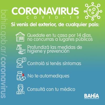 Coronavirus: En Bahía hay 3 casos sospechosos y 23 personas aisladas por contactos estrechos