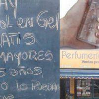 Merlo Norte: perfumería regala alcohol en gel a los mayores de 65