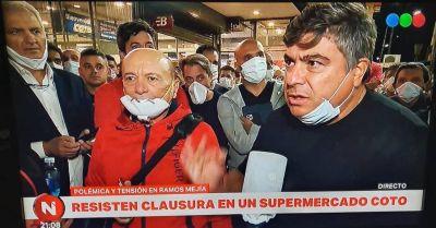 Papelón: Alfredo Coto y Ramón Muerza lideraron protestas para que levanten clausuras de supermercados por precios abusivos