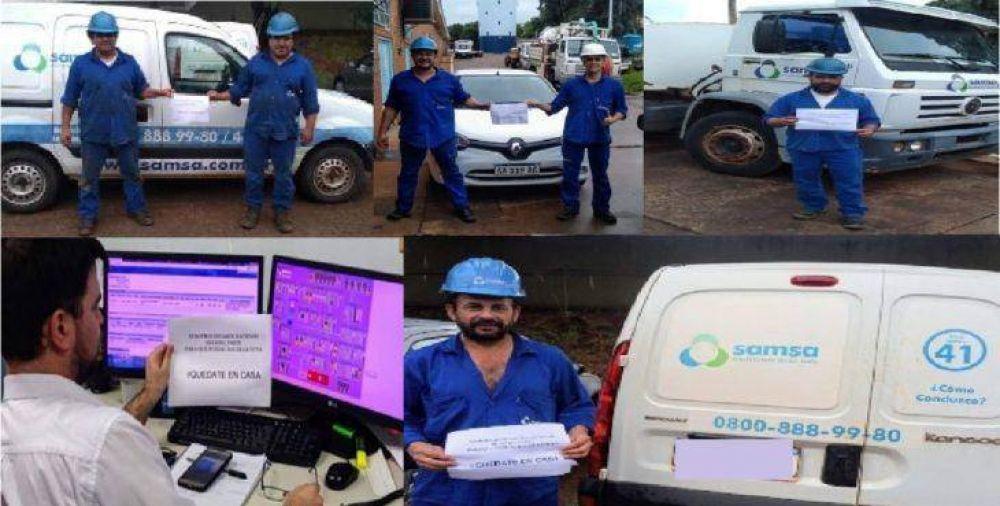 """Coronavirus: el personal de SAMSA se sumó a la campaña """"Quedate en casa"""""""