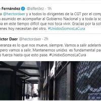 El presidente agradeció a Daer y a la CGT por acompañar al Gobierno