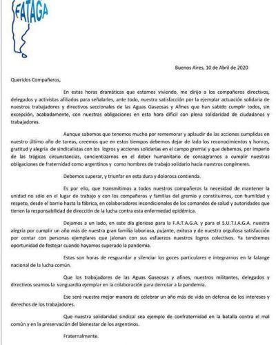 """FATAGA celebra sus 63 años y llama a ser """"la vanguardia ejemplar para derrotar a la pandemia"""""""