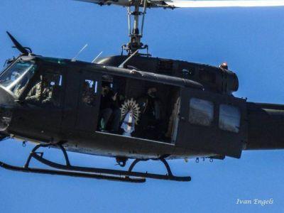 Llevaron imágenes de la Virgen en un helicóptero para pedir el fin de la pandemia