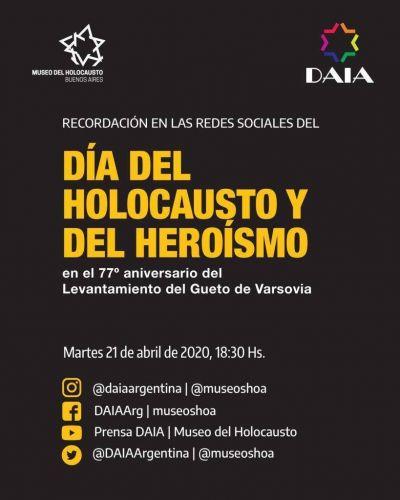 La DAIA conmemora el Día del Holocausto y del Heroísmo de manera virtual