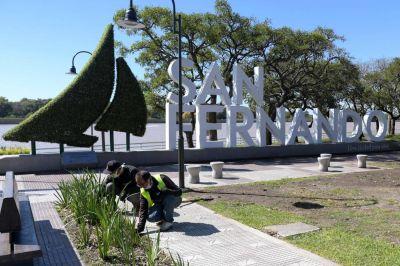 Durante la cuarentena, San Fernando trabaja en el mantenimiento de la Costanera municipal