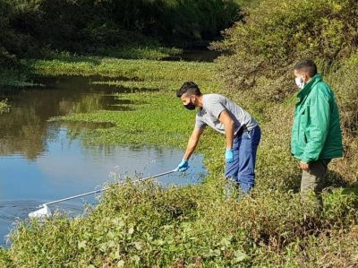 Controlan la calidad del agua de los arroyos que atraviesan Varela