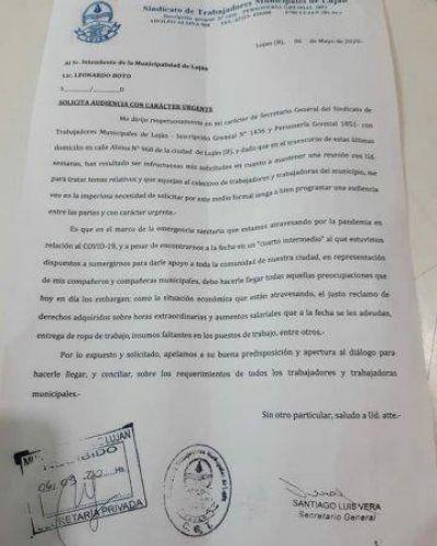 El Sindicato de Trabajadores Municipales exige una reunión con el Intendente