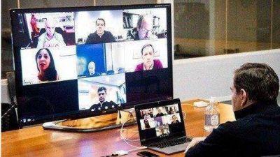 Montenegro realizó una videollamada con Vidal, Larreta y otros intendentes