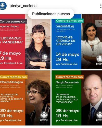 UTEDYC y OSPEDYC organizaron charlas virtuales sobre el coronavirus