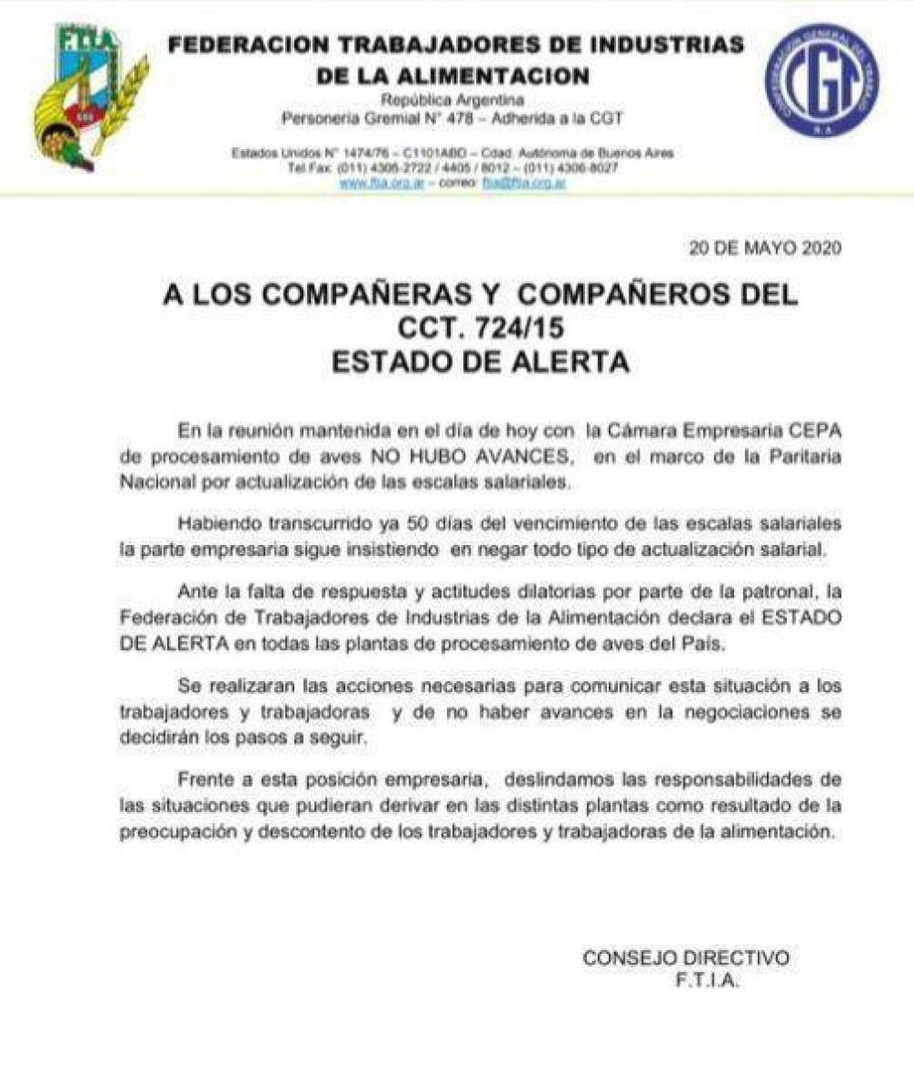 La FTIA declaró el estado de alerta porque la CEPA no discute salarios