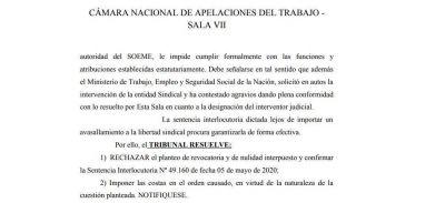 Confirman la intervención del SOEME y ordenan que Simón maneje las cuentas del gremio