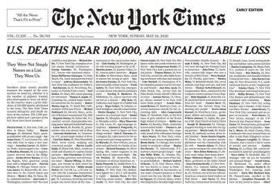 La tapa del The New York Times refleja el impacto por las 100.000 muertes en EE.UU.